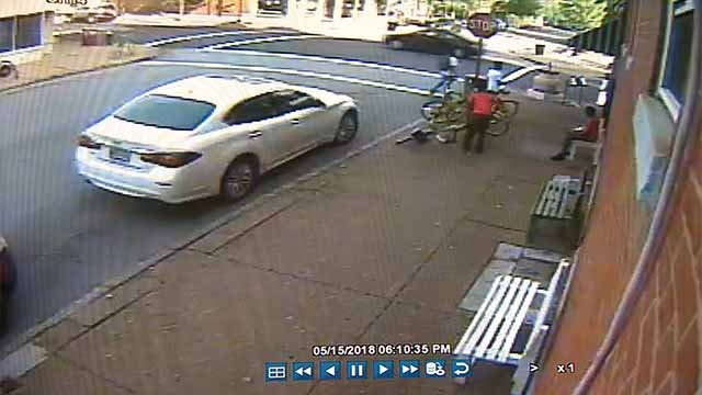 The owner of Crown Candy Kitchen says his surveillance cameras caught a LimeBike theft. Credit: Crown Candy Kitchen