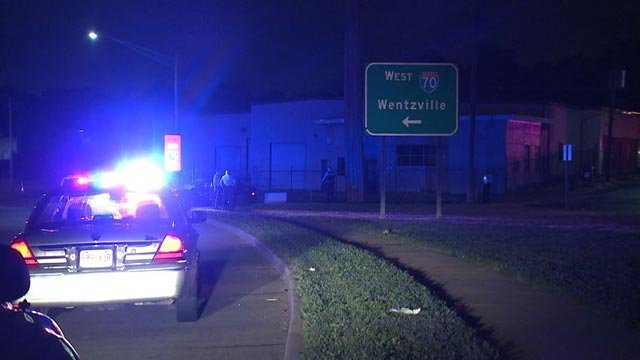 2 suspects were taken into custody after a police chase ended at Jennings Station Road and I-70 (Credit: KMOV)