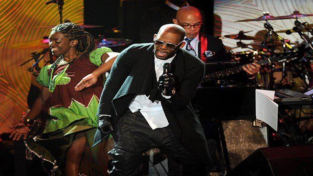 Recording artist R. Kelly performs onstage at The 56th Annual GRAMMY Awards Salute to Industry Icons with Clive Davis, on Saturday, Jan. 25, 2014 at the Beverly Hilton Hotel in Beverly Hills, Calif. (Photo by Frank Micelotta/Invision/AP)