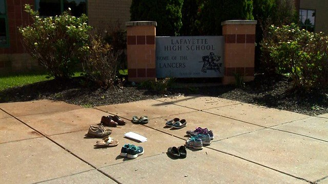 Students Demand Action set up this memorial of empty shoes, outside Lafayette High School in Wildwood. (Credit: KMOV)