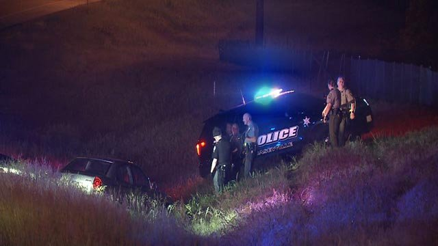 The end of a police chase on Interstate 64 near the Martin Luther King Bridge in Illinois (Credit: KMOV)