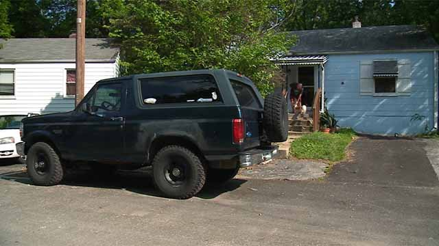 Ray David says his neighbor's Ford Bronco is blocking half of his property. Credit: KMOV
