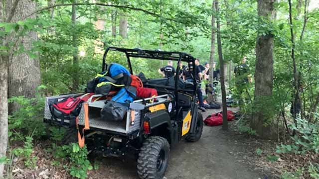 Firefighters getting ready to rescue two hikers who became stuck in Castlewood State Park. Credit: Metro West Fire