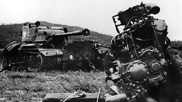 In this undated photo from North Korea's official Korean Central News Agency, distributed by Korea News Service, wreckage of an American tank (left) and plane destroyed by the (North) Korean People's Army. (Korea News Service via AP Images)