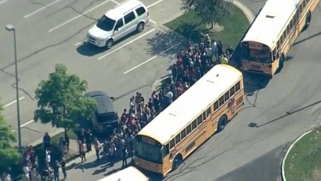 Students outside of Noblesville, Indiana after a school shooting was reported Friday (Credit: WRTV / CBS News)