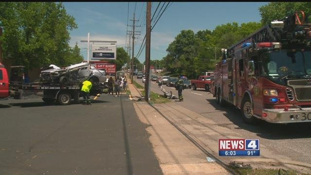 A pedestrian and driver were rushed to the hospital after a crash in north St. Louis County Saturday. (Credit: KMOV)