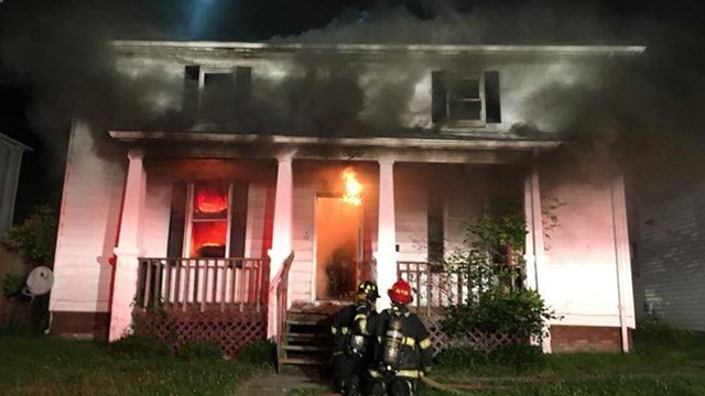 The Belleville Fire Department works to put out a house fire. (Credit: Belleville Fire Department)