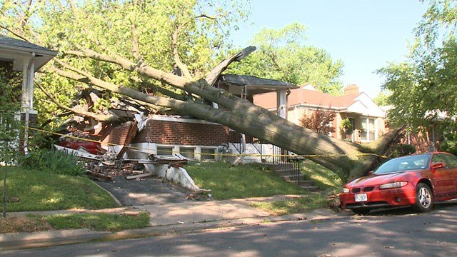 A strong storm caused a tree to fall into the roof of a home on Sherdian Drive in University City Saturday . ( Credit: KMOV)