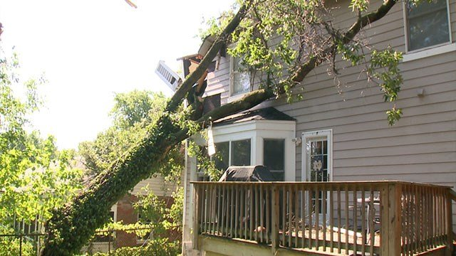 A strong storm caused a tree to fall into the roof of a home on Amherst Avenue in University City Saturday. ( Credit: KMOV)