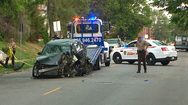 A cross-county police chase from St. Charles ends after three suspects crash in North City. ( Credit: KMOV)