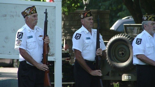 Members of VFW Post 805 in O'Fallon Illinois take part in a Memorial Day ceremony at the City of O'Fallon Cemetery on May 28, 2018. (Credit: KMOV)