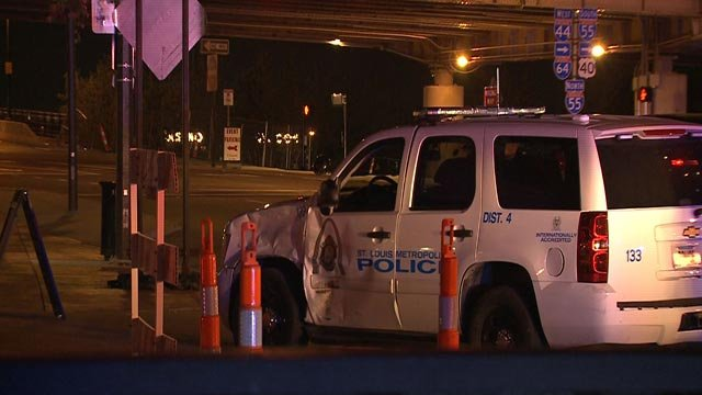 A police vehicle was damaged in an overnight crash in downtown St. Louis (Credit: KMOV)