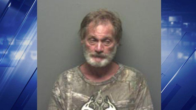 Michael Hawkins, 59, was arrested Sunday after an officer noticed he was driving through the grass at the K.C. Hall in St. Clair, Mo. (Credit: Franklin County Sheriff's Department)