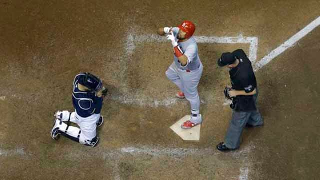 St. Louis Cardinals' Francisco Pena reacts after hitting a home run during the eighth inning of a baseball game against the Milwaukee Brewers Tuesday, May 29, 2018, in Milwaukee. (AP Photo/Morry Gash)