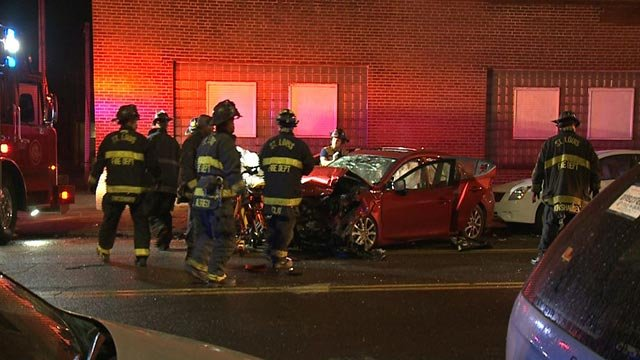 First responders on North Broadway after a crash late Tuesday night (Credit: KMOV)