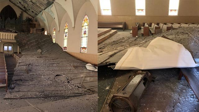 The ceiling collapse at Immanuel  Lutheran Church (Credit: Immanuel Lutheran Church - St. Charles, Missouri / Facebook)