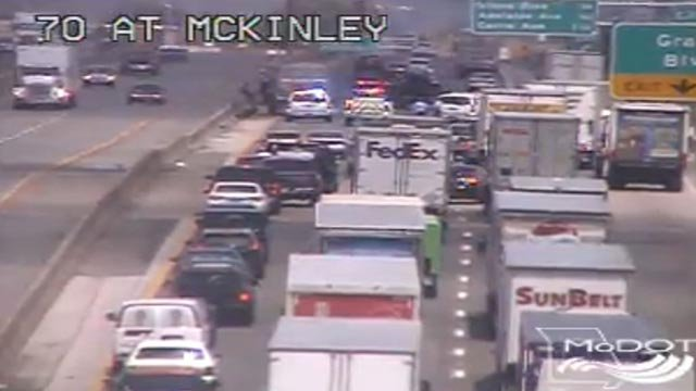 A crash has closed multiple lanes of WB I-70 Wednesday (Credit: MoDOT)