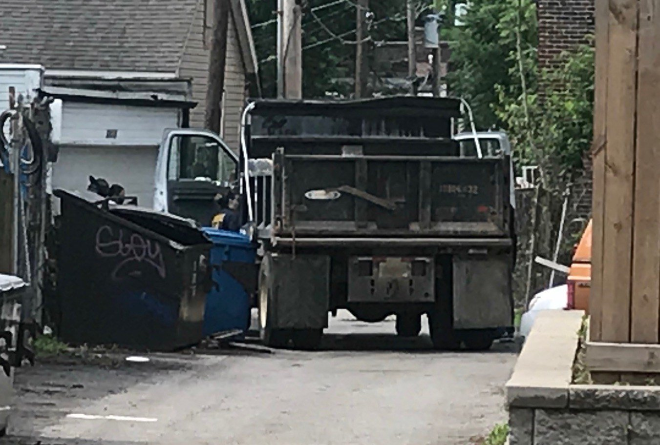 A dump truck stolen in Potosi was abandoned in St. Louis after it was chased by police into Illinois and back into Missouri, going the wrong way, on the Eads Bridge. The suspected truck thief was arrested several blocks away.