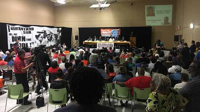 It was standing room only during a town hall meeting at The Better Family Life community center. Credit: KMOV