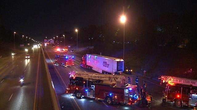 Emergency crews on I-55 at Arsenal after a man was struck and killed Wednesday (Credit: KMOV)