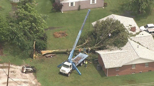 No injuries have been reported in Sparta' storm damage. (Credit: KMOV)