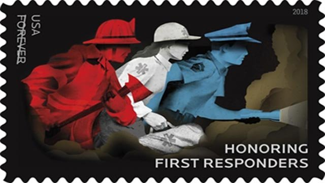 A stamp honoring first responders (Credit: USPS)
