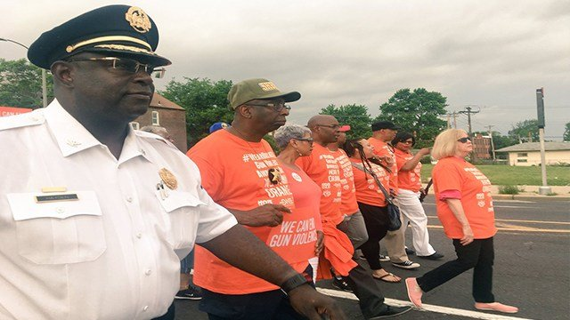 St. Louis Police Chief John Hayden, left, and Mayor Lyda Krewson ,far right, were in attendance at the Wear Orange march. ( Credit: KMOV)