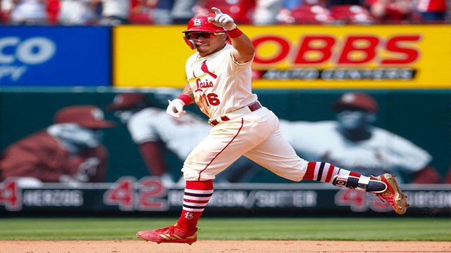 Kolten Wong #16 of the St. Louis Cardinals celebrates after hitting a walk-off home run against the Pittsburgh Pirates in the ninth inning at Busch Stadium on June 2, 2018 in St. Louis, Missouri. (Photo by Dilip Vishwanat/Getty Images)