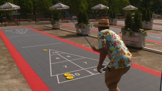 Four shuffleboard courts will be open all summer long. (Credit: KMOV)