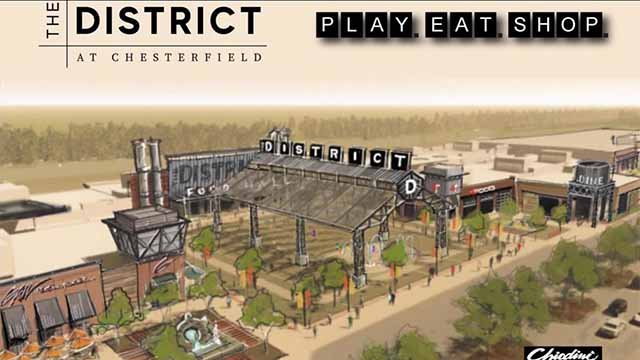"The Taubman Prestige Outlets in Chesterfield will be re-branded as a development called ""The District."""