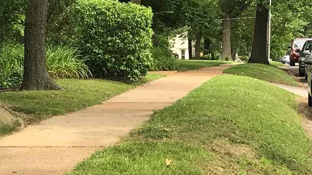 A man was held up at gunpoint Friday night as he walked home on a sidewalk in the 500 block of Argonne Drive in Kirkwood. Credit: KMOV