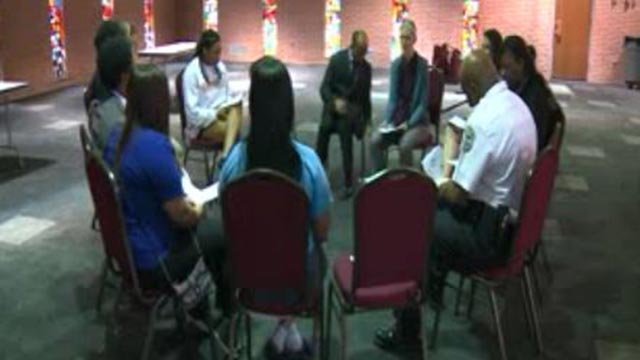 A group participating in the Ferguson 'Youth Resource Fair' (Credit: KMOV)