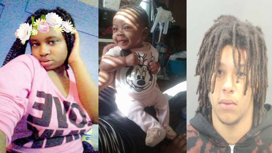 Police are looking for Trameeya Carter, 16 (left), her child Livya (center). Police believe they may be with Juwan Clark (right). Credit: STL County PD