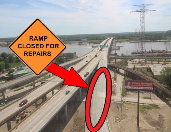 Drivers heading into Illinois from St. Louis City should be aware that the ramp from eastbound I-44/northbound I-55 to the eastbound Poplar St. Bridge will be closed this weekend due to repairs. (Credit: KMOV)