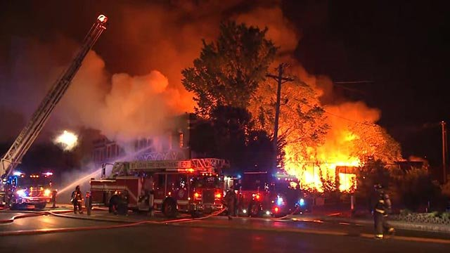 A fire in the 1400 block of South Vandeventer Thursday (Credit: KMOV)