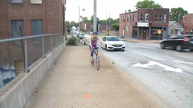 A bike lane on Tower Grove Ave in South City was recently removed. Credit: KMOV