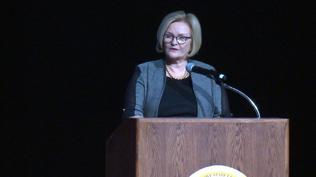 Sen. Claire McCaskill speaks at a grant symposium at Harris Stowe University. (Credit: KMOV)