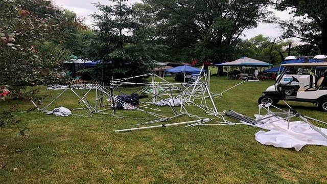 Wind gusts destroyed tents at St. Gabriel's church picnic Saturday in Francis Park. (Credit: KMOV)