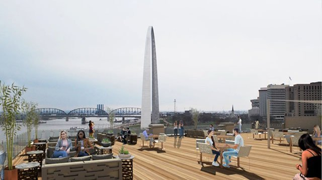 Renderings of a rooftop view at the Peper Lofts. The lofts are being built in the Landing. ( Credit: Peper Lofts)