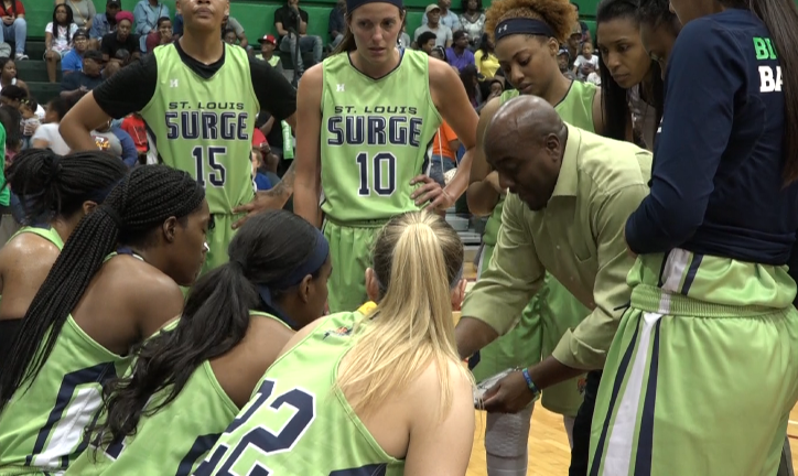 Stl Surge gathers in a huddle during a game (Credit: KMOV)