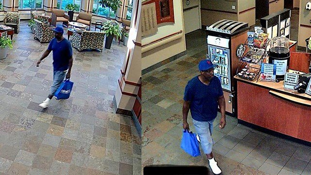Alton Police Department is looking for the suspect accused of stealing a purse and other items from a hospital patient. (Credit: Alton PD)