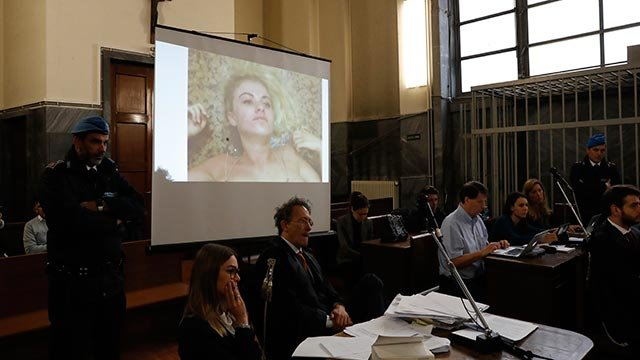 Video evidence of British model Chloe Ayling is played in court during a trial on the alleged kidnapping of the model last summer, in a Milan courtroom (Credit: AP Photo / Antonio Calanni)