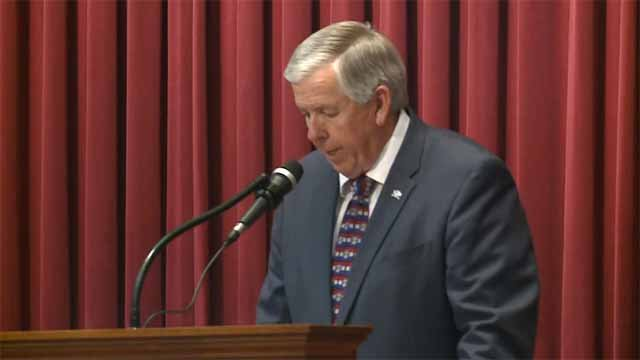 Mo. Gov Mike Parson speaking in front of the state legislature on June 11. Credit: KMOV