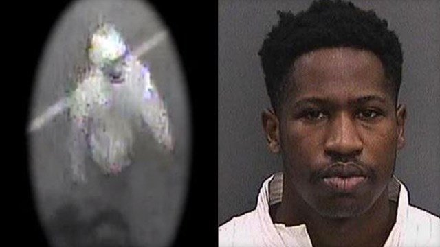 Howell Emanuel Donaldson seen in a mugshot, right, and a surveillance image of the suspect released before his arrest. (Tampa PD)
