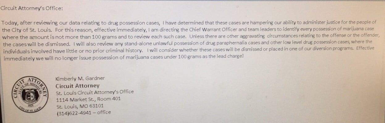 St. Louis Circuit Attorney Kim Gardner's letter. Credit: KMOV