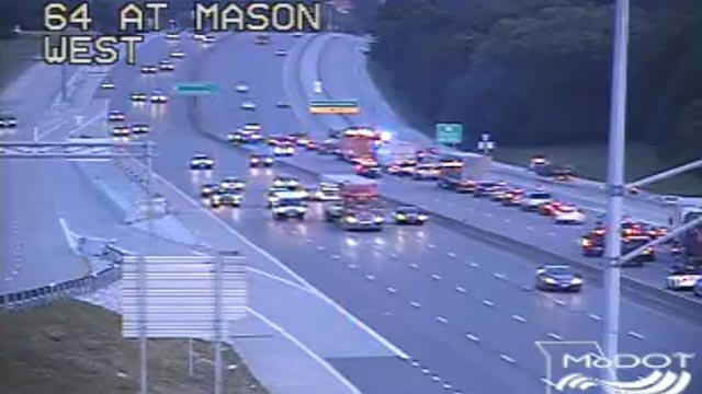 A crash blocking multiple lanes of WB I-64 at Mason Road Wednesday (Credit: MoDOT)