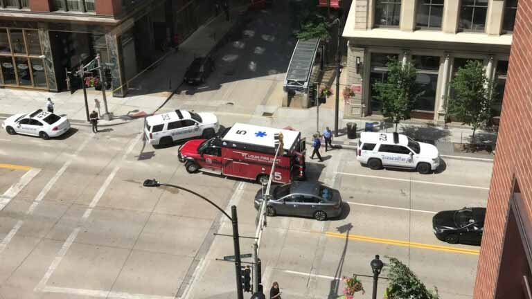 A man was shot in the leg in downtown St. Louis Wednesday afternoon.