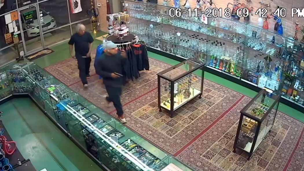 Police in Fairview Heights are looking for two suspects that robbed a tobacco storecarrying a handgun and wearing clown masks late Monday evening. Credit: Fairview Heights PD