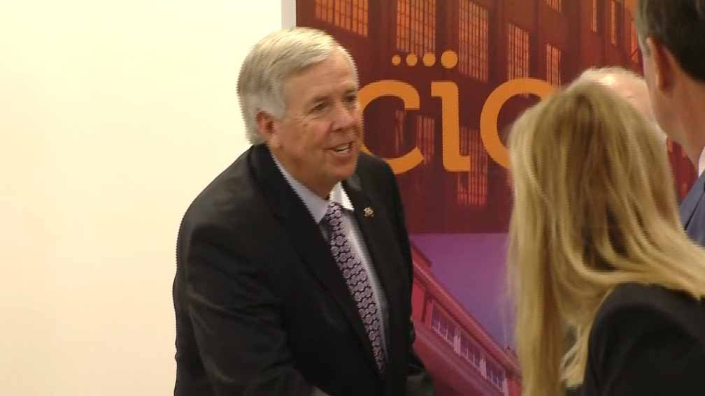 Gov. Mike Parson visiting the Cortex on June 13. Credit: KMOV