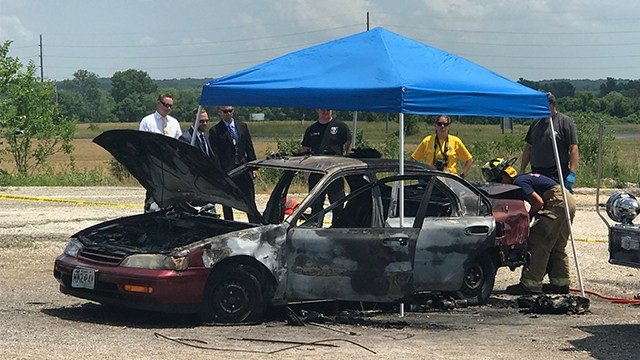 The charred car was located near Troy, Mo. with a body inside in the driver's seat. (Credit: KMOV)